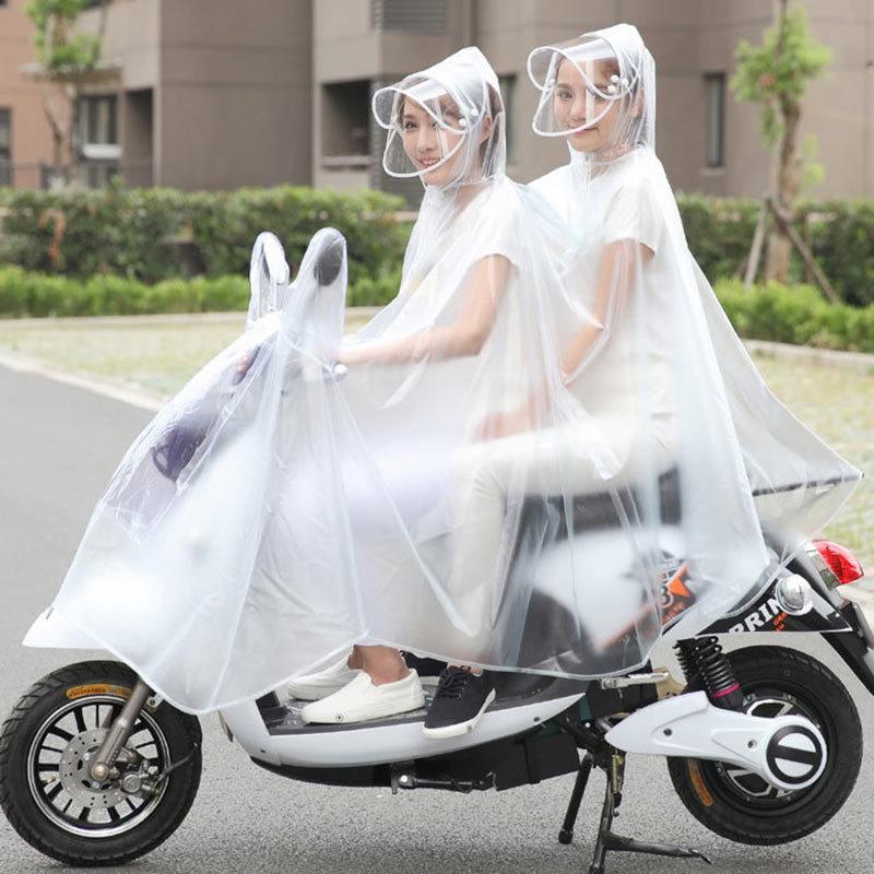 电车电瓶摩托车电动自行车母子透明雨衣成人男女雨披·蓝雪花