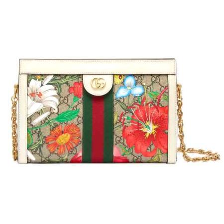 GUCCI 古驰 女士棕色花卉图案链条包·棕色1641801646880