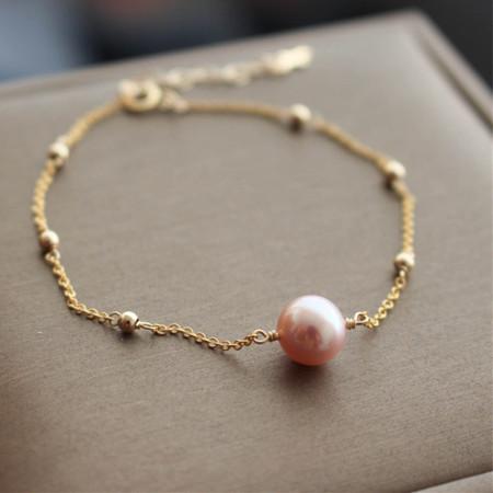 香港直邮 粉色天然淡水珍珠满天星手链 BS2