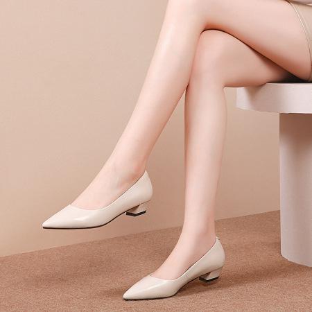 奈绮儿Naiyee 牛皮低跟浅口单鞋女鞋·MMLR-M335米白色
