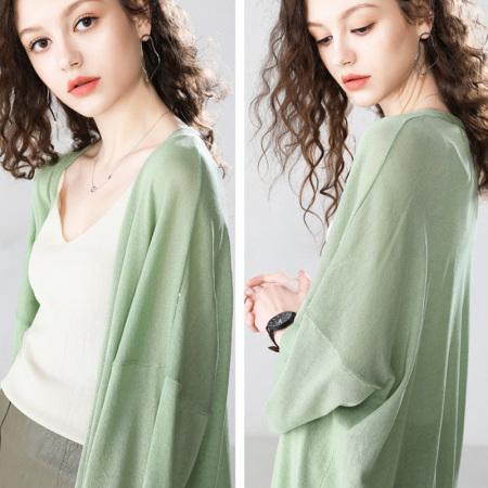 亚麻冰丝外搭开衫,宽松大码,防晒/挡空调风·清新绿色