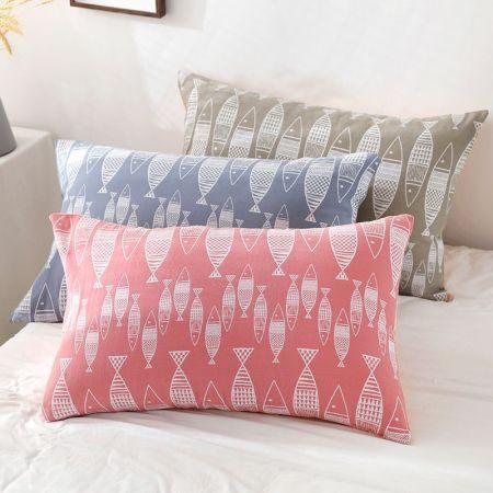 YENLN日本家居两层纱布加厚枕套一对装·蓝色