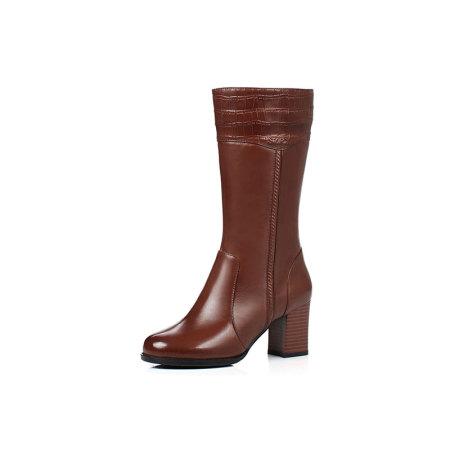 Garthphil 牛皮百搭中筒靴女真皮加绒拉链女靴f003868-3485·棕色