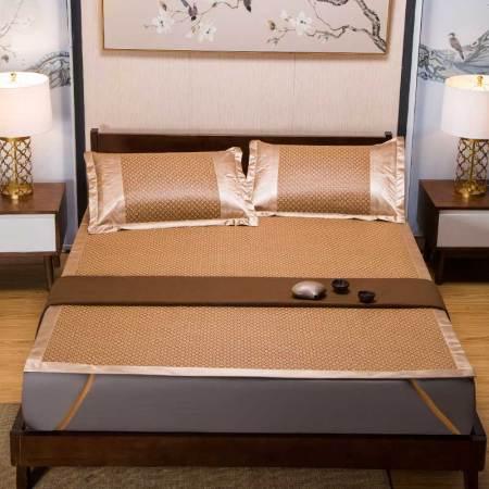 莱薇 经典双面仿藤冰丝席可折叠凉席三件套1.8米床·方块螺纹1.8米