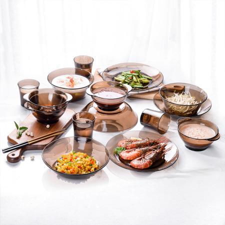 多莱斯(DURALEX)法国进口玻璃餐具四人15件套-配沙拉碗水杯夏季高人气组合-多款多色·咖啡色