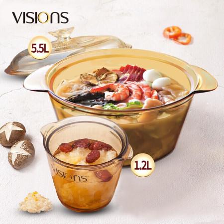 康宁 5.5L炖锅+1.2L盅锅(VS55FL+VS1.2FL)·琥珀色