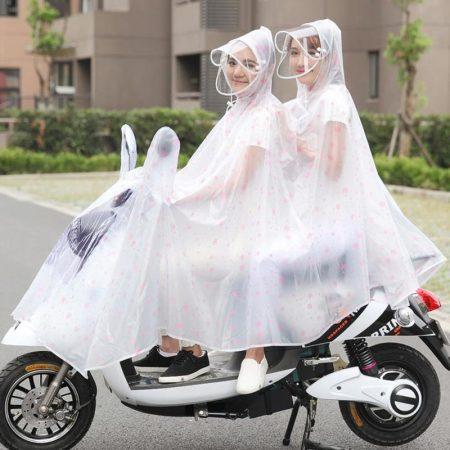 电车电瓶摩托车电动自行车母子透明雨衣成人男女雨披·红雪花
