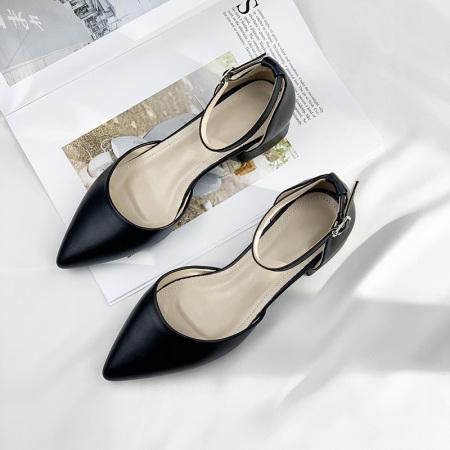 法国Naiyee奈绮儿 一字扣尖头粗跟包跟凉鞋女鞋子·MZR-19-81-黑色