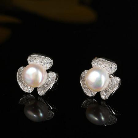 京珠部落s925银天然珍珠三叶草耳钉耳饰