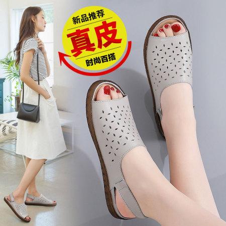 真皮镂空35-45码女凉鞋韩版凉拖孕妇妈妈鞋松紧带沙滩鞋·灰色