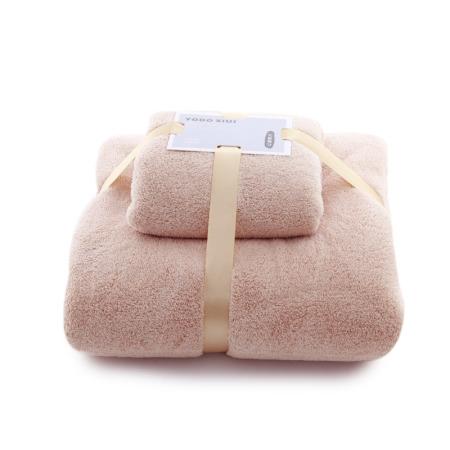 温迪珊瑚绒子母巾套巾加厚柔软吸水礼品套装浴巾毛巾两件套·驼色(新老包装随机发货)