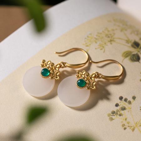 觅玉缘925银镀金天然和田玉复古花朵平安扣耳饰