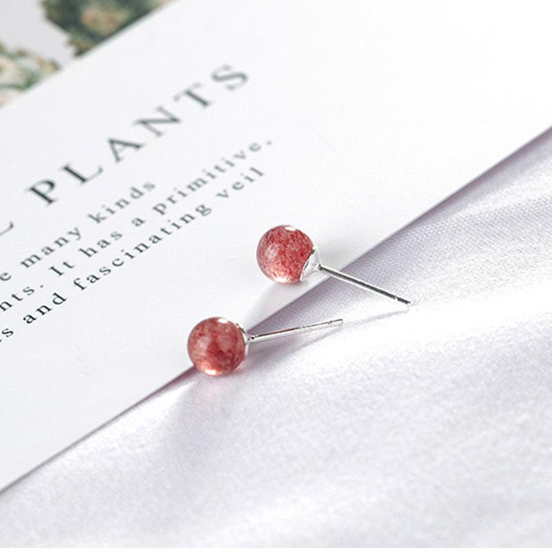 喜善喜S925草莓晶简约银耳钉  约6mm