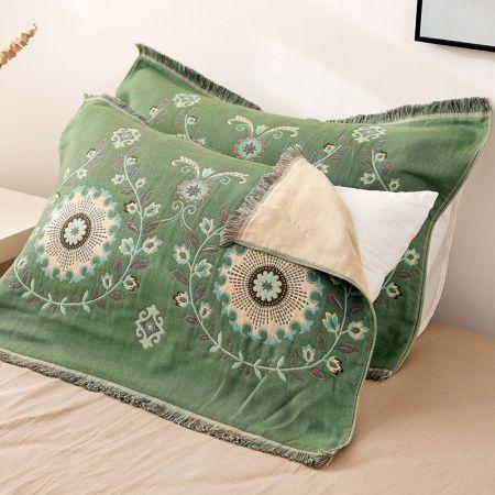 YENLN日本家居纯棉四层纱布流苏枕巾一对装·金盏绿色