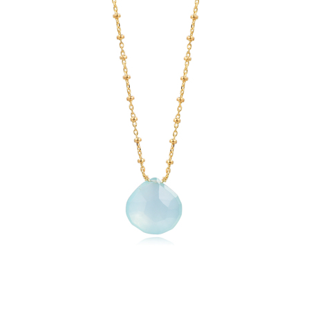 Piara银项链镀18K金海蓝玉髓心形吊坠宝石项链N14124