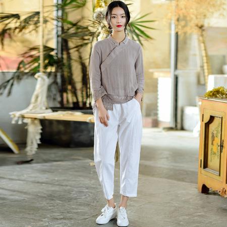 2021新款多彩文艺棉麻女士九分裤·白色  预售款3-7天发货