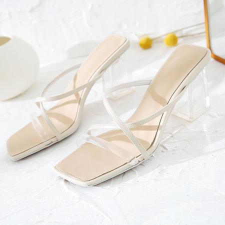 奈绮儿Naiyee 方头X字形系带水晶跟凉鞋女鞋·DMJ-88-901-白色