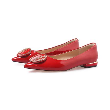 奈绮儿Naiyee 牛皮尖头舒适内里防滑鞋底单鞋女鞋·XKDY-AD762-红色