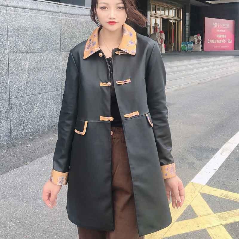 米彩微姿 2021新款中国风盘扣真丝香云纱西装领真皮中长款皮衣·黑色