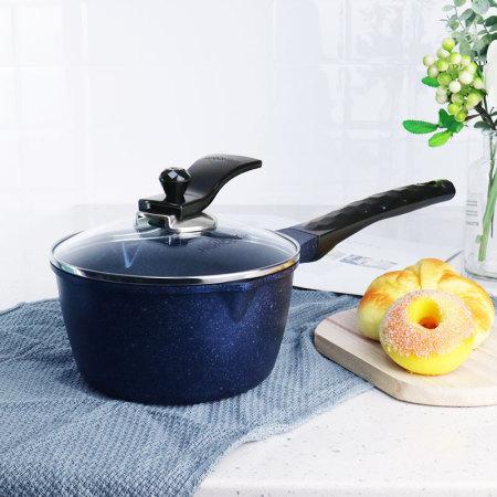 韩国进口蓝宝石单柄炖煮奶锅16cm配可立式防溢盖·宝石蓝