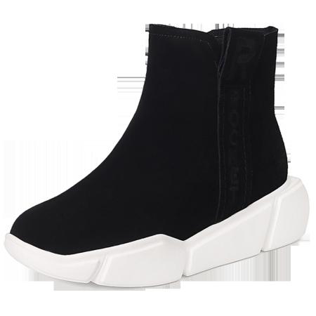 Garthphil 厚底冬靴休闲平底短靴女靴l030277-18032·黑色