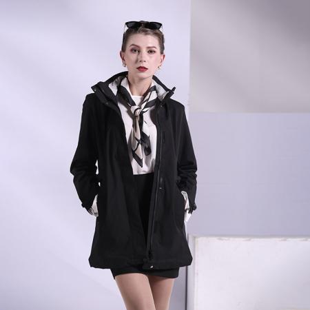 卡帝乐鳄鱼时尚商务格纹外套·女【黑】