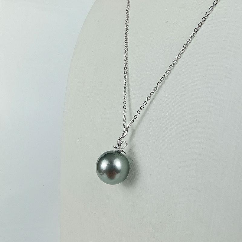 岛上明珠 大溪地海水强光灰绿黑珍珠18k金吊坠领结款12-13mm·灰绿