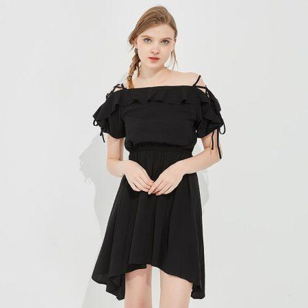 Jane Eyre 肩部系带一字领连衣裙(JE18111003)·黑色