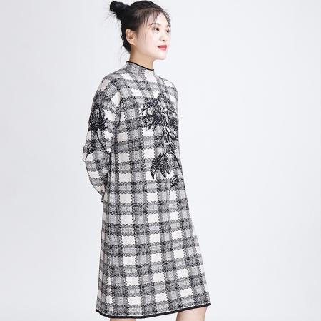 金典娜气质典雅色织提花针织衫·立领裙