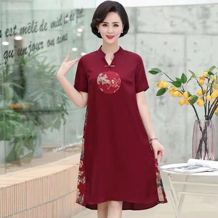 夏季中国风真丝短袖中老年连衣裙·红色  红色
