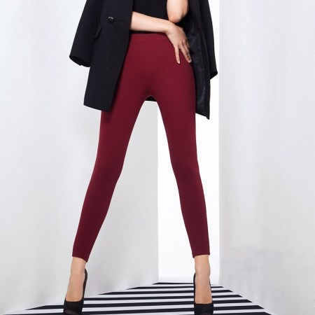 早秋钜惠寓美牛仔都市瘦身美体裤·酒红色·130斤可穿