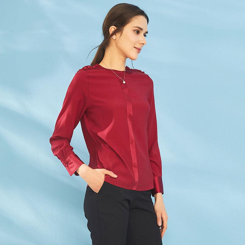Prolivon 圆领真丝长袖衬衫(三色可选 PL87239)·酒红色--底价清仓!一年一次!