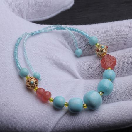 (超值)老冯记天然原矿绿松石高瓷蓝原创手链