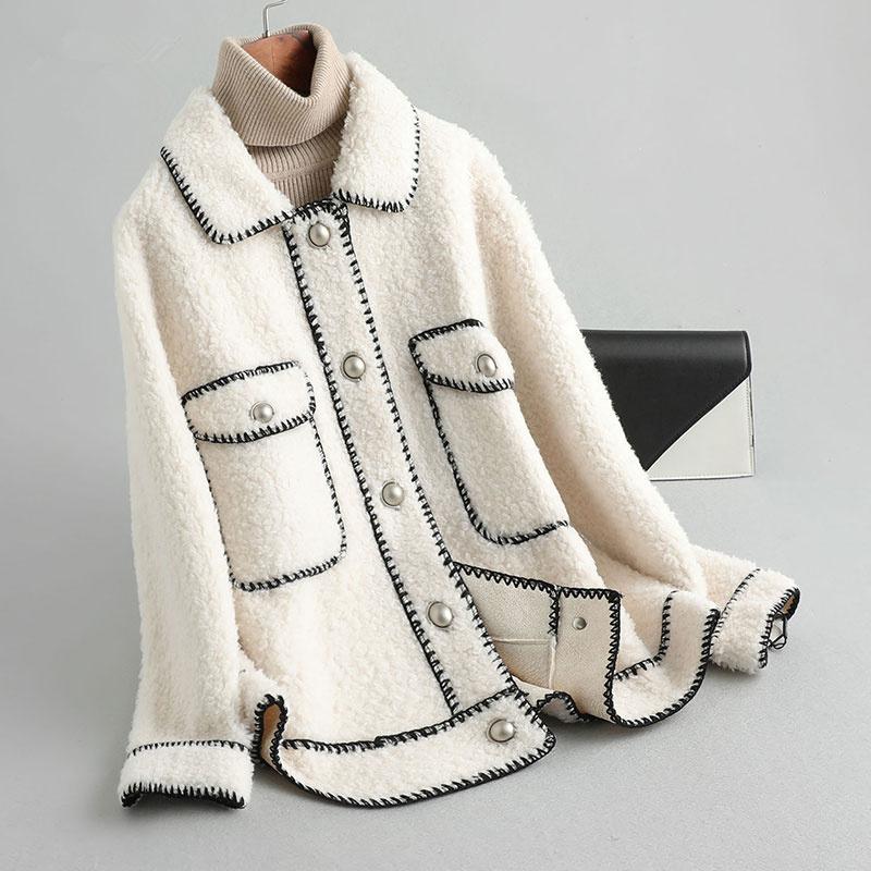 安柘娜复合一体颗粒羊毛皮草大衣·19093白色