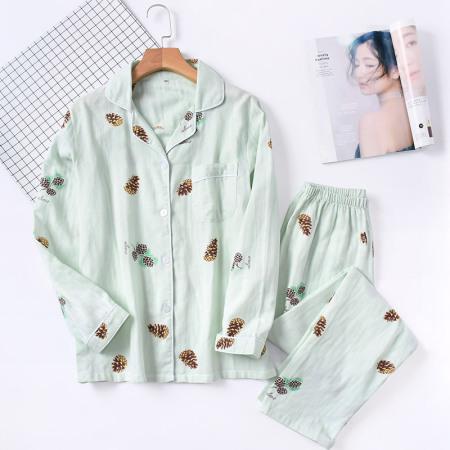 纱布睡衣套装·长袖+长裤(松果绿色)