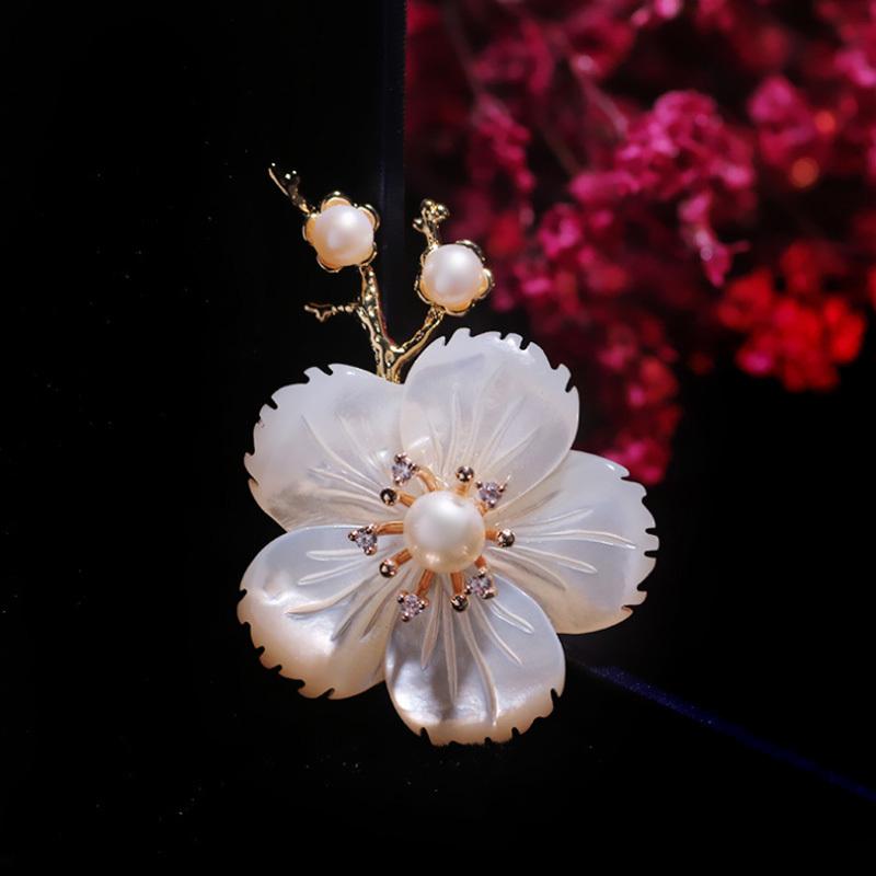 温书院天然贝壳淡水珍珠花朵一枝梅新品复古胸针别针X526