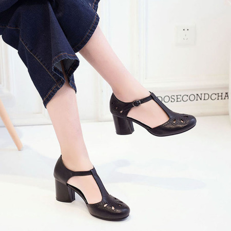 Garthphil 高跟鞋女里外全皮女鞋中空浅口女单鞋f001505-3387·黑色