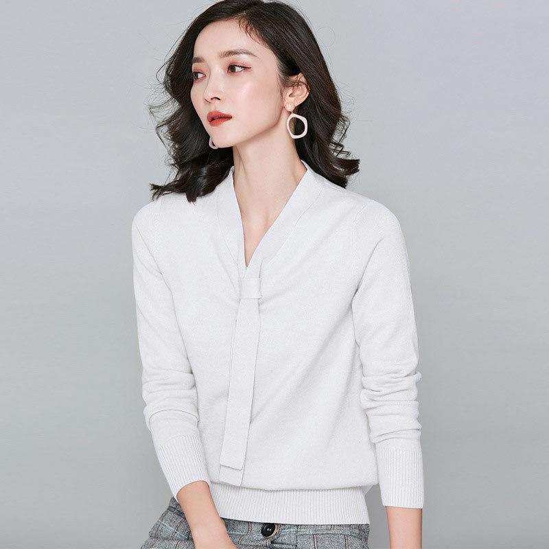 漫丽依精纺V领针织衫·壳粉色 3095