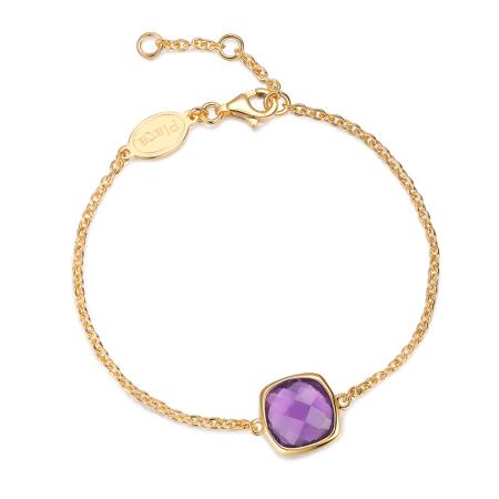Piara银镀18K金手链天然紫水晶宝石手链BK06035G