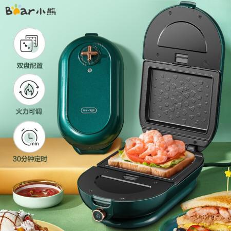 小熊(Bear)三明治机电饼铛可拆卸双盘不粘锅华夫饼机 DBC-P06T2·绿色
