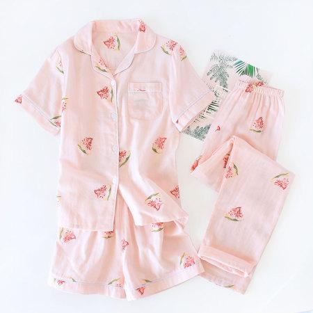 纱布睡衣套装·短袖+短裤(西瓜粉色)