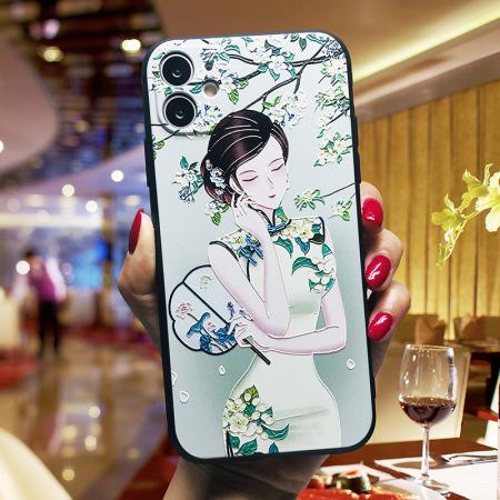 国潮中国风浮雕软壳手机壳 WH20200610·手持蒲扇旗袍女