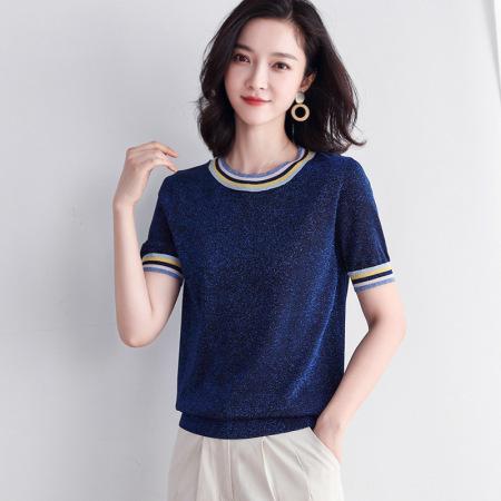漫丽依亮丝冰丝短袖针织衫·圆领宝蓝色 T3186