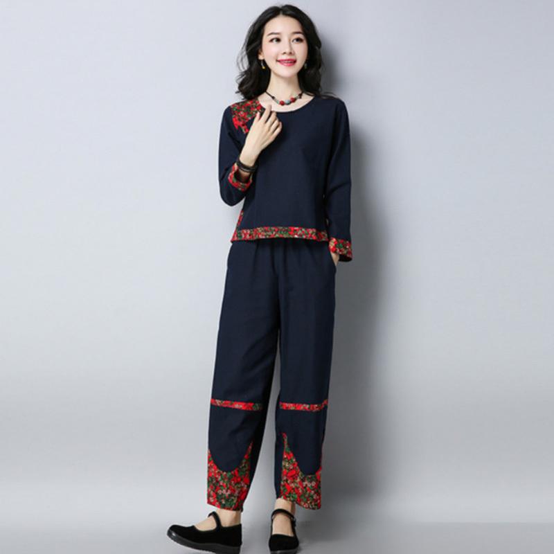 名族风碎花棉麻两件套装·两色可选!舒适透气!气质优雅!