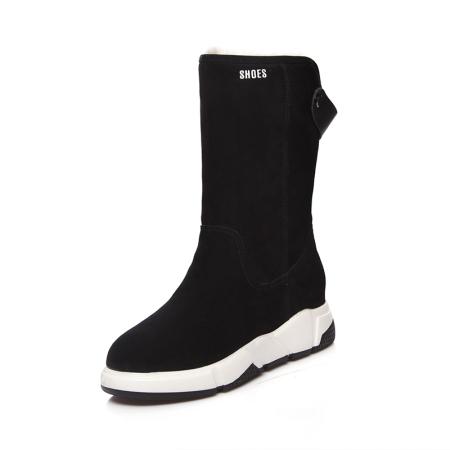 Garthphil 冬季真皮厚底保暖加绒内增高中筒靴l006007-19015·黑色羊毛