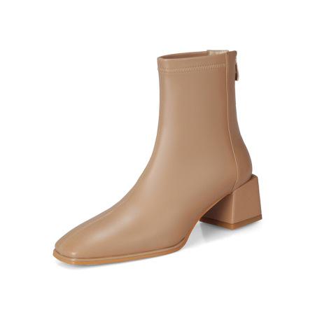 奈绮儿 牛皮PU粗跟弹力靴短靴女靴·NQE-D61杏色