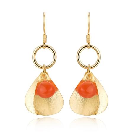 Piara 天然彩宝红石髓耳环宝石耳钉 E46415