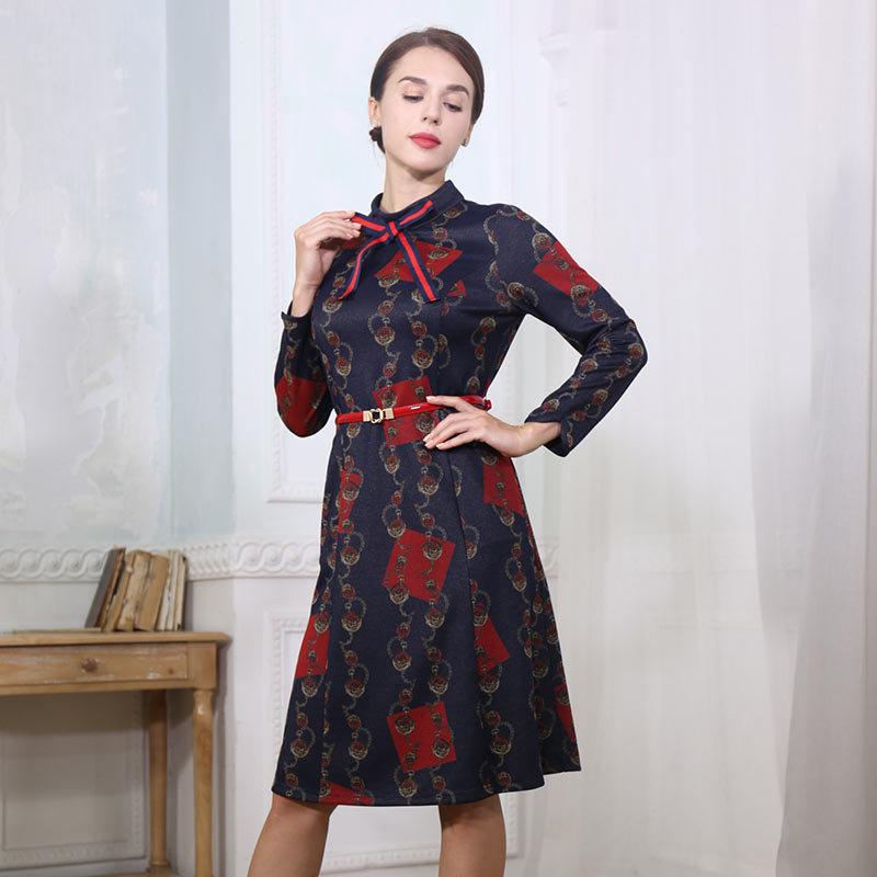 HE&LUNE魅力鎏彩修身连衣裙·蓝色