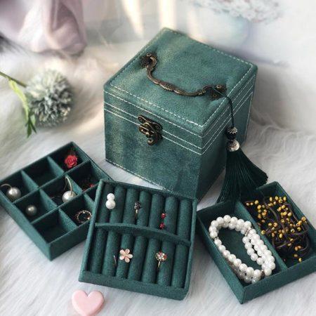 迈可维宫殿绒布三层首饰收纳盒·墨绿色