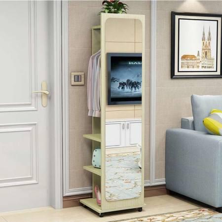 家用落地全身镜--可移动旋转兼多层储物空间·枫木色